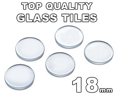 18mm Clear Glass Round Tiles Circles (Flat Bottom - Flat Top) - FREE SHIPPING