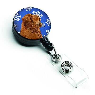 Sussex Spaniel Winter Snowflakes Holiday Retractable Badge Reel