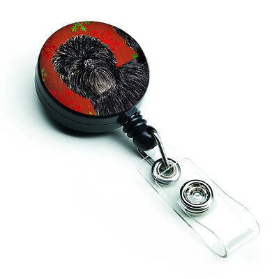 Affenpinscher Red Green Snowflakes Christmas Retractable Badge Reel