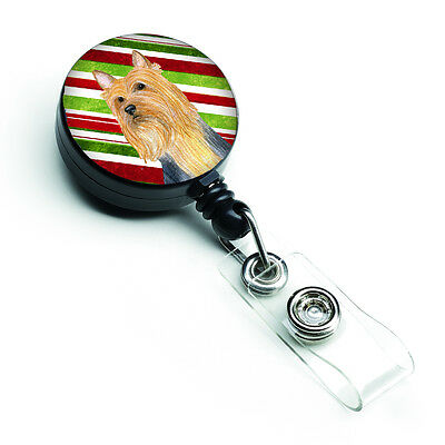 Silky Terrier Candy Cane Holiday Christmas Retractable Badge Reel