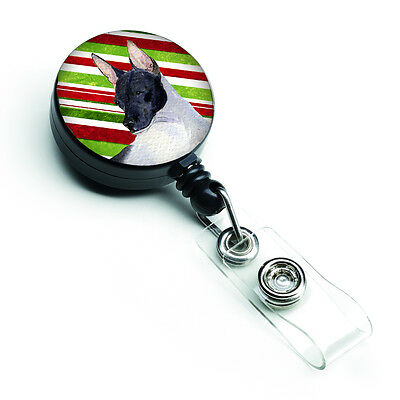 Rat Terrier Candy Cane Holiday Christmas Retractable Badge Reel