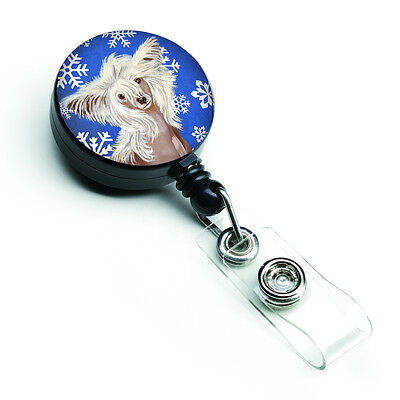 Chinese Crested Winter Snowflakes Holiday Retractable Badge Reel