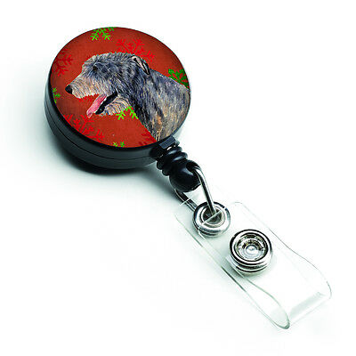 Irish Wolfhound Red and Green Snowflakes Holiday Christmas Retractable Badge Ree