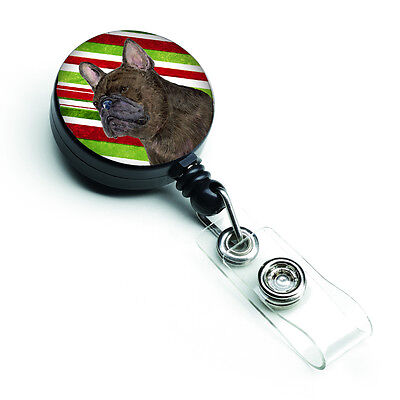 French Bulldog Candy Cane Holiday Christmas Retractable Badge Reel