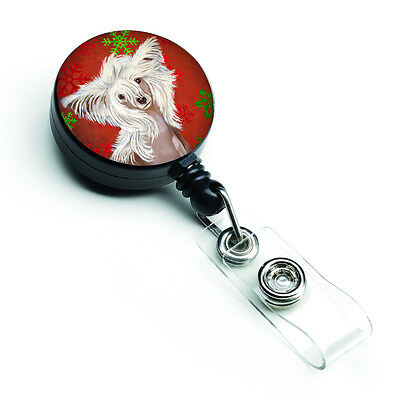 Chinese Crested Red and Green Snowflakes Holiday Christmas Retractable Badge Ree