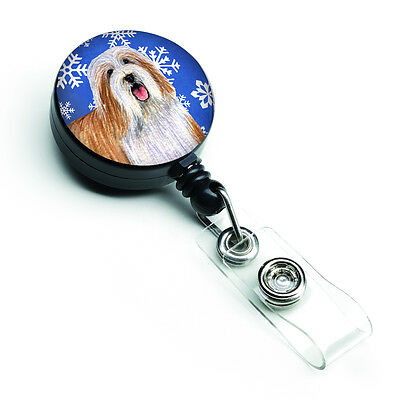 Bearded Collie Winter Snowflakes Holiday Retractable Badge Reel