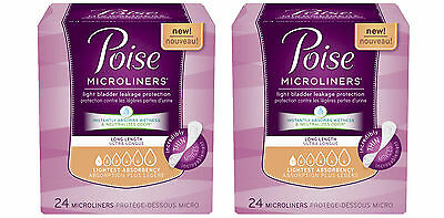 2 Poise Microliners Incontinence Panty Liners Unscented, Regular - 24 Count Each