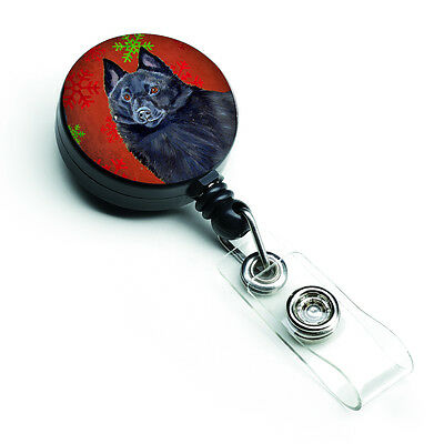Schipperke Red and Green Snowflakes Holiday Christmas Retractable Badge Reel