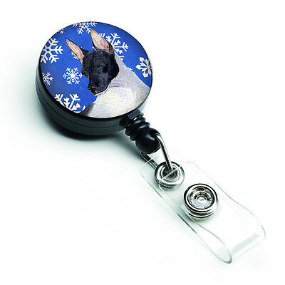 Rat Terrier Winter Snowflakes Holiday Retractable Badge Reel