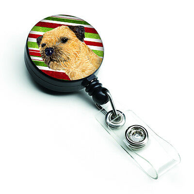 Border Terrier Candy Cane Holiday Christmas Retractable Badge Reel