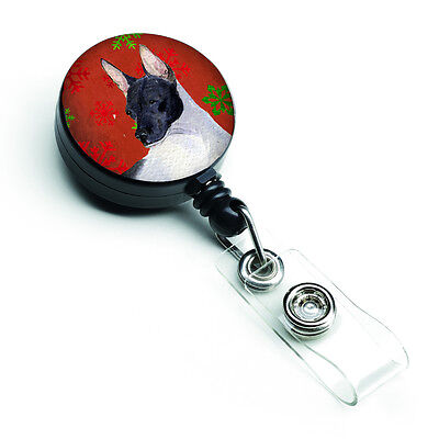 Rat Terrier Red and Green Snowflakes Holiday Christmas Retractable Badge Reel