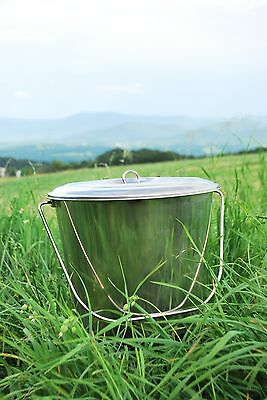 18 Qt Stainlesss Steel Pail Milk Pail Bucket with Lid, Brand New, Seamless