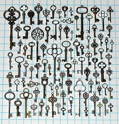 90 Antique Vtg old look Ornate Skeleton Key Lot Pendant Fancy Heart Bow Favors