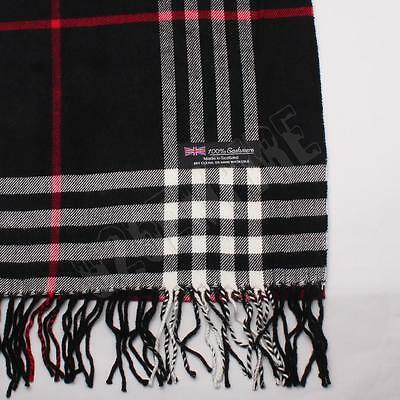 Men's 100% CASHMERE Scarf Black Camel Big Plaid Stripe Design Soft