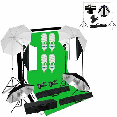Photo Studio Continuous Softbox Umbrella Lighting Kit Backdrop Light Stand Set U