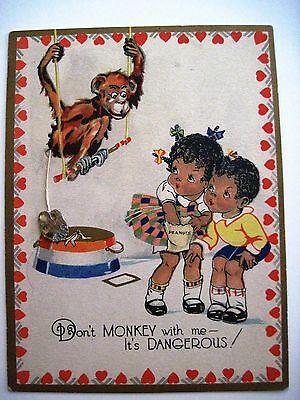 Vintage Black Americana Valentine Card w/ Two Children and A Monkey *