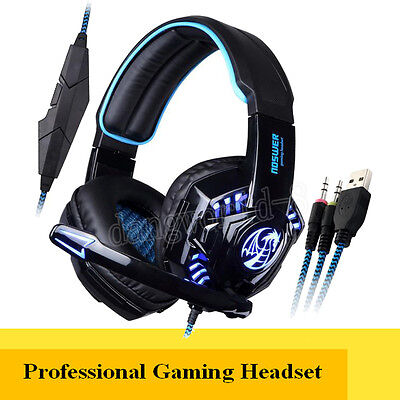 Gaming Cuffie Auricolari Noswer LED HEADSET Headphone 3,5mm Con Microphone Gioco