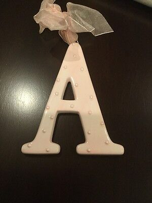 AMSCAN Ceramic Baby Wall Letter A Light Pink Different Designs 449059