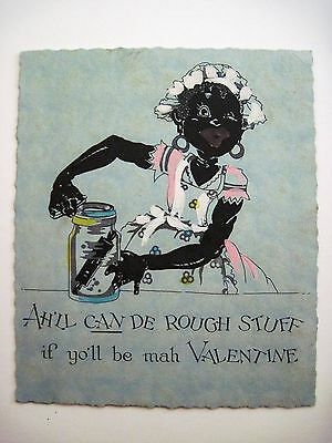 Vintage Black Americana Hand Painted Valentine Card w/ Woman & Rolling Pin *