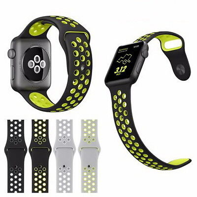 Apple Watch 42mm Series 2 /1 Band Sport Rubber Silicone Strap Black/Volt ML