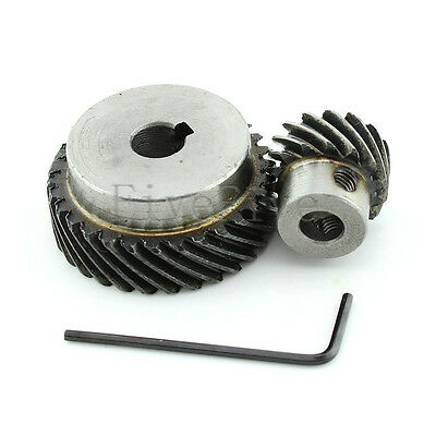 1M 30T/15T Metal Helical Wheel Gear 90° Pairing Bevel Gearing Set Kit Ratio 2:1