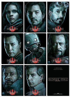 NEW - ROGUE ONE A STAR WARS STORY PROMO 8 Card Character Poster Set - Jyn K-2SO