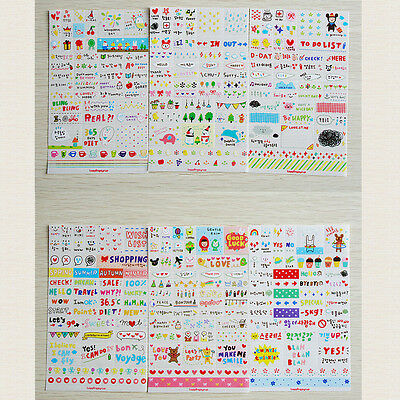 Cute 6 Sheets DIY Word Expression Diary-Album Stickers Calendar Card-crapbooking