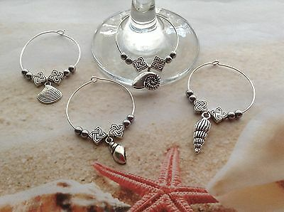 NAUTICAL SEA SHELL WINE GLASS CHARMS SILVER TONE SPACER BEADS x SET OF 4 pcs