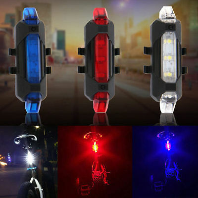 5 LED USB Rechargeable Bike Bicycle Tail Rear Night Warning Light Lamp White New