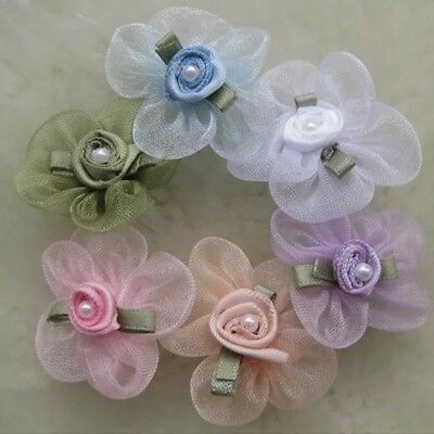 12pcs Organza Ribbon Flowers w/Rose wedding bow sewing craft Appliques #260