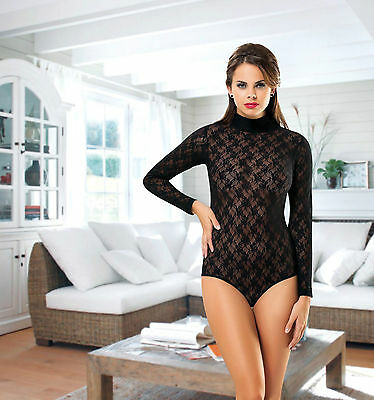 Women Lace Long Sleeves and High Neck Bodysuit