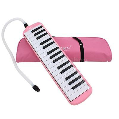 32 Piano Keys Melodica Musical Instrument & Carrying Case Kids Gift Pink D7Q8