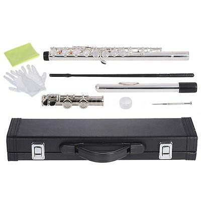 ammoon Close Hole C Flute Cupronickel Nickel Plated+Case For School Band T4M9