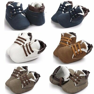 Newborn Toddler Boy Baby Crib Boots Winter Soft Sole Leather Crib Shoes 0-18M