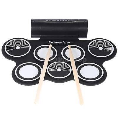 Silicone Electronic Drum Pad Kit Digital USB MIDI Roll-up w/Foot Pedal G1C6