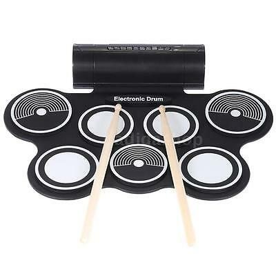 Silicone Electronic Drum Pad Kit Digital USB Roll-up w/Foot Pedal G1C6
