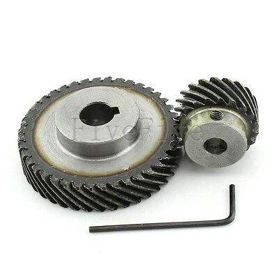 1M 40T/20T Metal Helical Wheel Gear 90° Pairing Bevel Gearing Set Kit Ratio 2:1