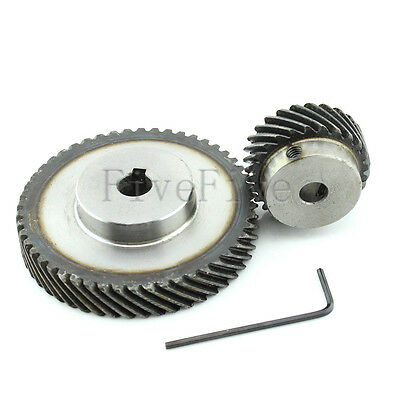 1M 50T/25T Metal Helical Wheel Gear 90° Pairing Bevel Gearing Set Kit Ratio 2:1