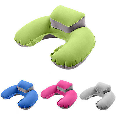 Soft Inflatable Travel Neck U Shape Pillow Support Head Rest Air Blow Up Cushion