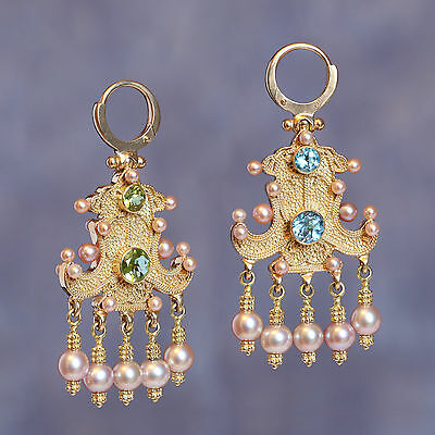 Women 14K Gold Bilateral Earrings with blue topaz, chrysolite and purple pearl