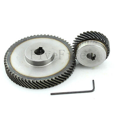 1M 60T/30T Metal Helical Wheel Gear 90° Pairing Bevel Gearing Set Kit Ratio 2:1