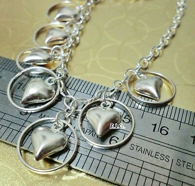 11.62g 7.5 inches Stamped 925 Genuine Sterling Silver Dangle Hearts Bracelet