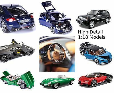 Bburago 1:18 Model Cars E-Type Jag Bugatti Audi Bently Ranger Rover HIGH DETAIL