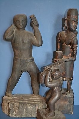 3 Antique Dyak (Headhunters Borneo) Tribal Carved Figures, Slavery Theme, c1920