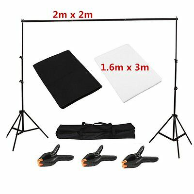 Photo Studio Screen Black White Backdrop Background Large 2 x 2m Stand Kit
