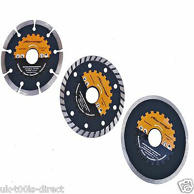 Diamond Cutting Disc Blade Set 115mm Solid Segment Turbo Dry Wet