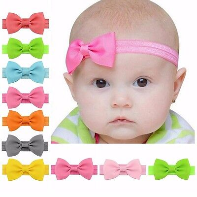 10Pcs Baby Girls Kids Infant Bowknot Bow Hairband Mini Elastic Hair Accessories