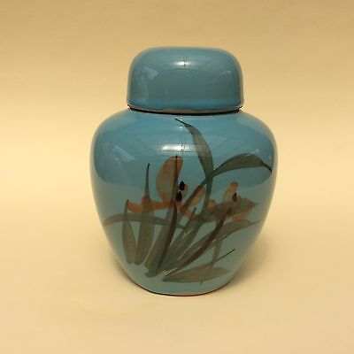 GINGER JAR CHINESE EARTHENWARE Lidded Painted Red Flowers on Blue Glaze