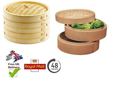 2 Tier Real Wooden Bamboo Food Vegetable Steamer Round Chinese Dim Sum Cooker