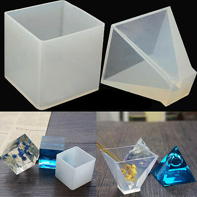 New Silicone Crystal Jewelry Mould Pendant Pyramid Ornaments Resin DIY Tool